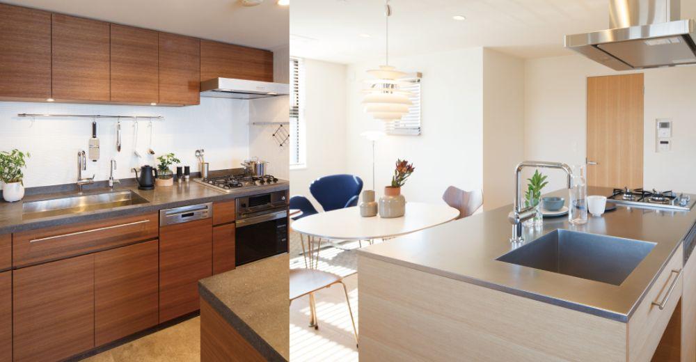 壁付けキッチンとアイランド型キッチン