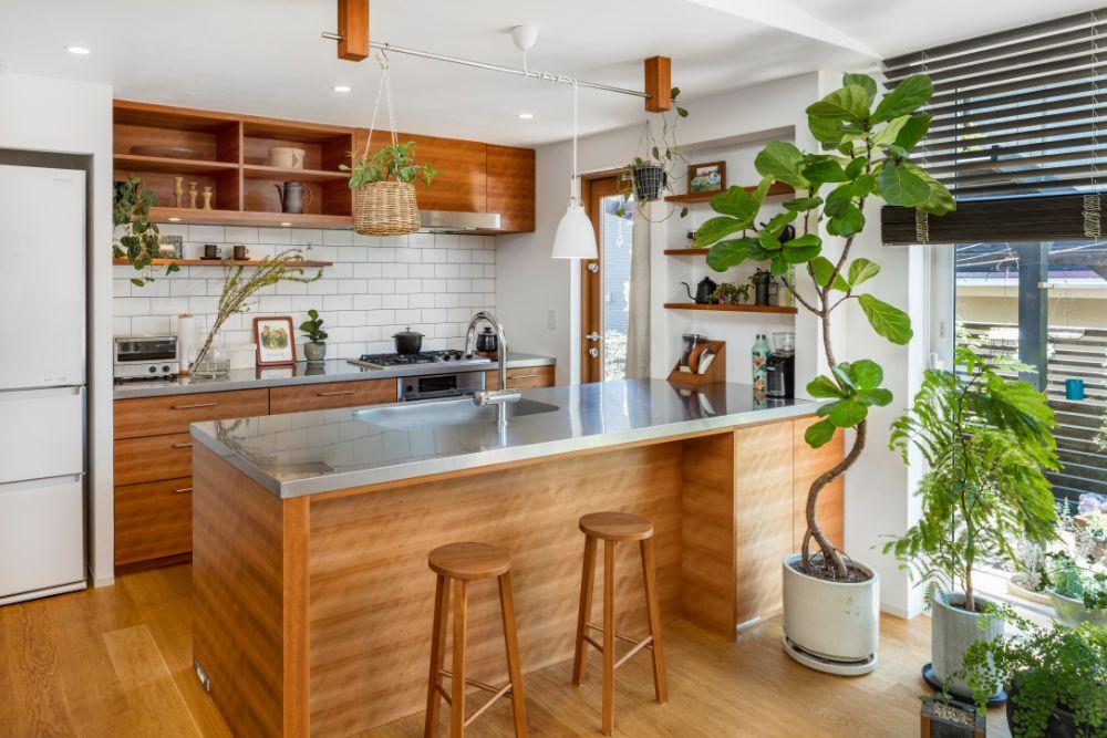 観葉植物などグリーンの沢山飾られたキッチン