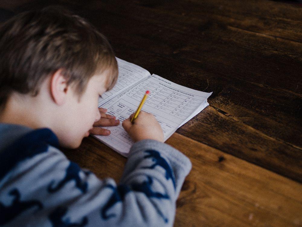 集中して勉強する子供