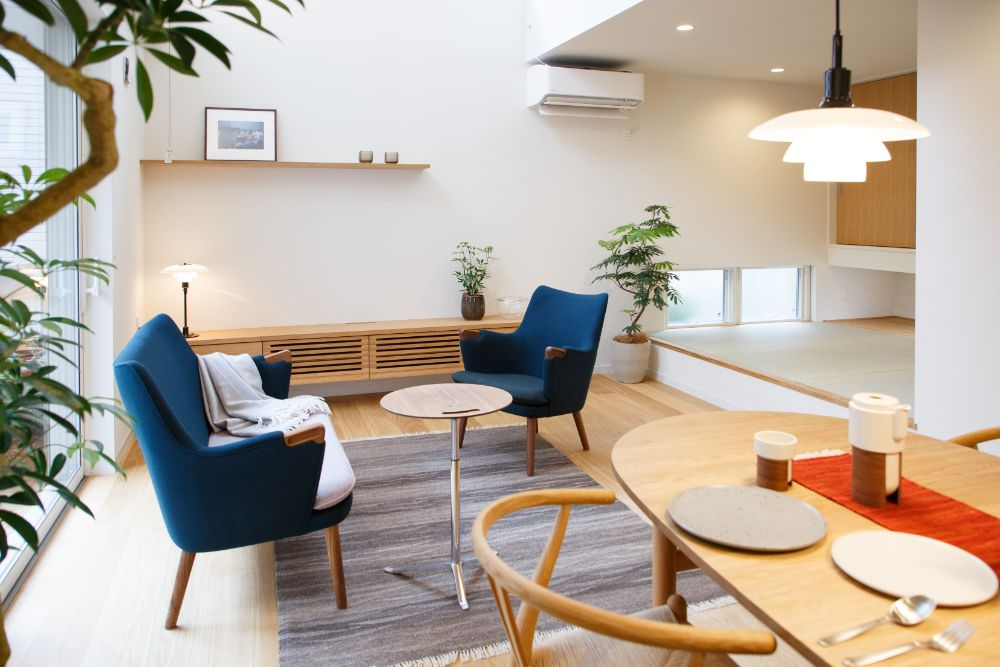 北欧家具の置かれたリビング空間