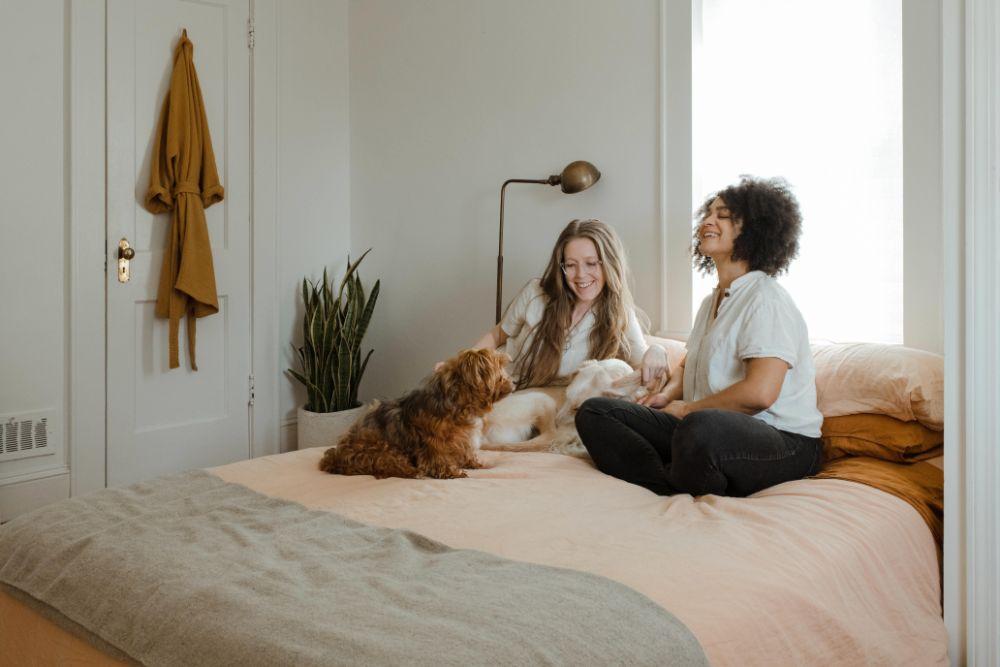 ベッドの上でくつろぐ2人の女性と犬