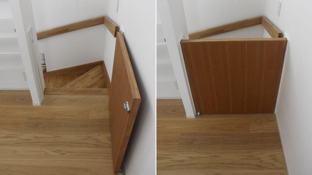 階段に設置されたベビーゲート