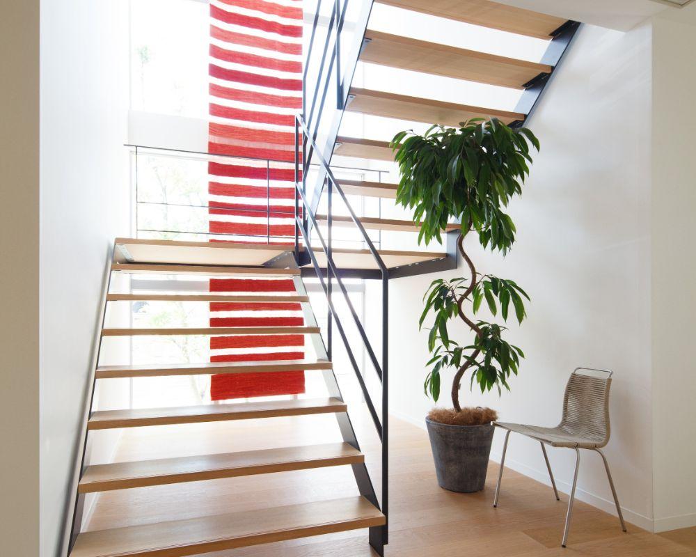 スケルトン階段の下に置かれた椅子と植物