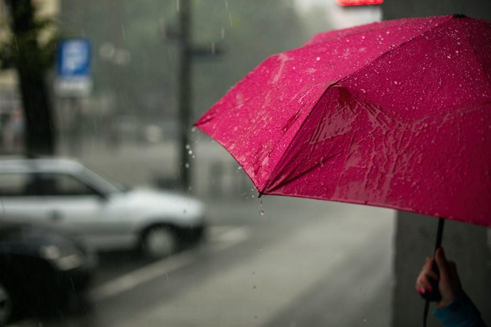 雨で濡れた傘