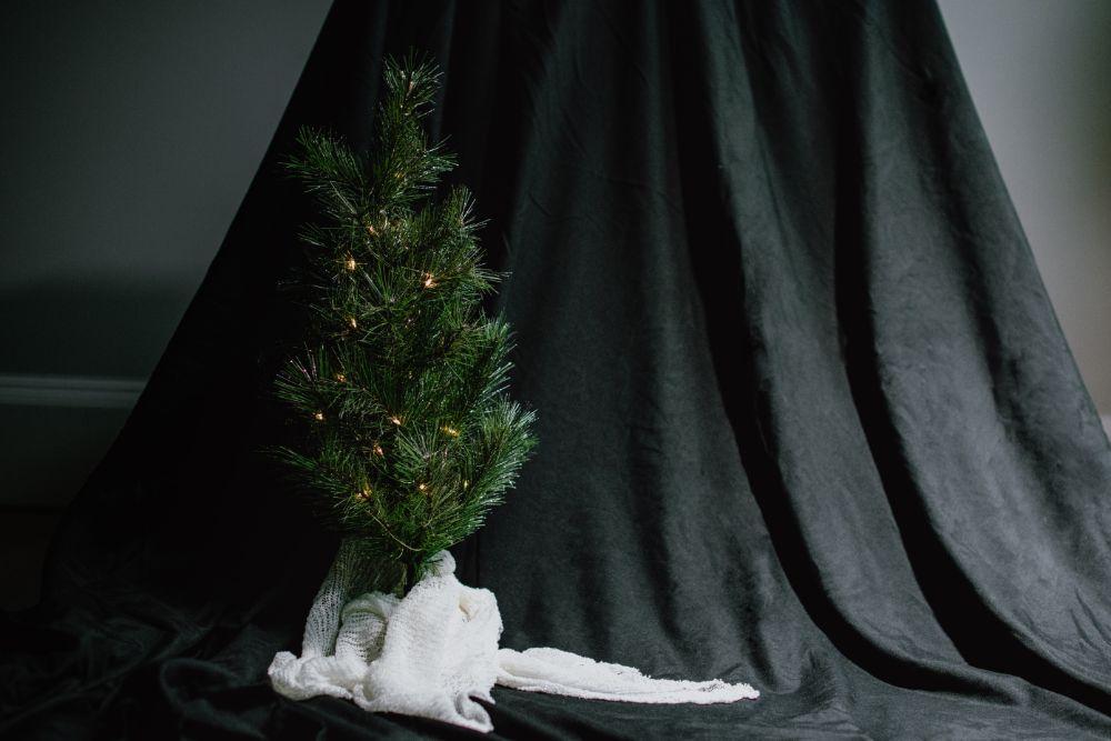 ツリー下部が布で隠されている様子